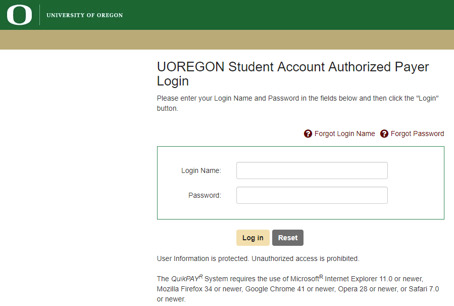 QuikPay Authorized Payer Forgot Password | Business Affairs