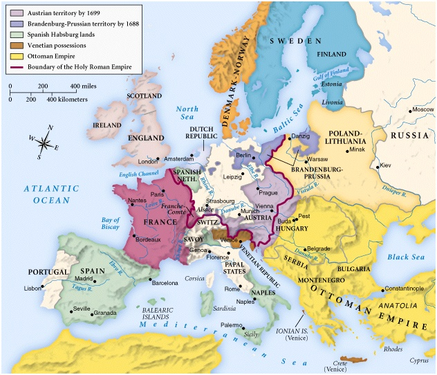 Map: Europe in 1700