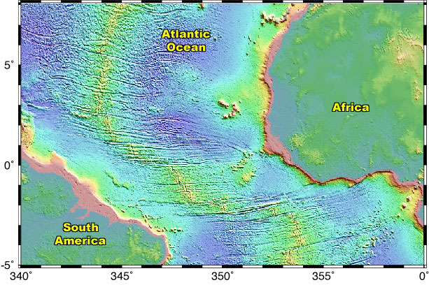 Cpm presentation a large scale view of the mid atlantic ridge numerous transform faults can be seen running almost perpendicular along this mid ocean spreading center gumiabroncs Image collections