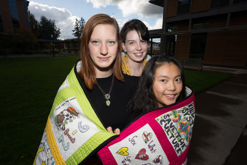 Ed Studies quilt and students