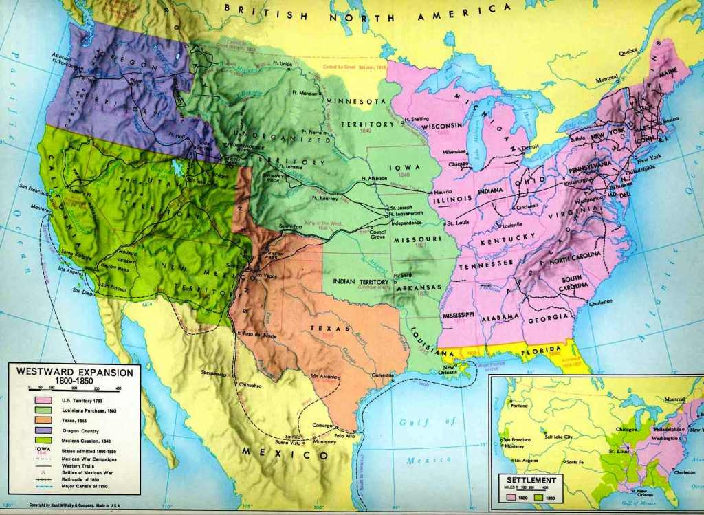 History Early S United States Early Development And - Map of the us in the 1800s