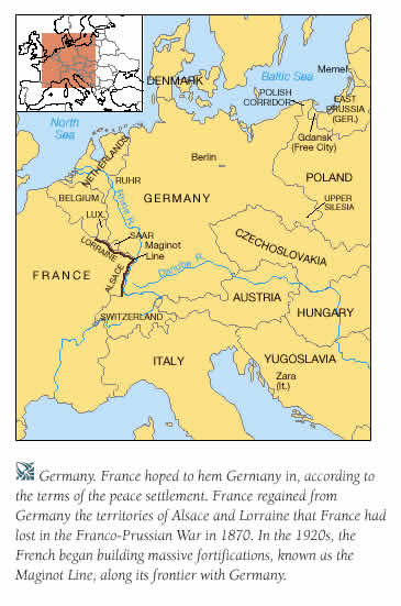 HIstory Europe In The Twentieth Century - Germany map after the versailles treaty