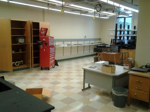 Note the tool chest – it's still largely empty. We have the beginnings of a good set of tools required for assembling the lab, but for experiments we'll need to add steadily to it as the need arises.