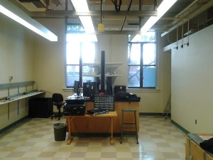 "We left some of the counter space so that we have room for little projects. Blackout blinds have been installed on the two main windows, for times when we need exceptional temperature stability. Room 171C, our ""clean-ish"" room is on the right side of the photo. All air entering the lab goes through a HEPA filter, and the room will have sticky mats at the entrance. Hair nets may become a requirement, if I feel ornery."