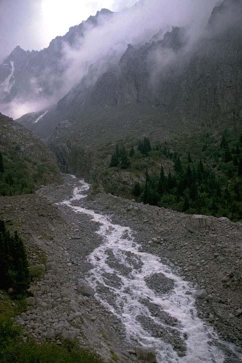 Braided stream tien shan mtns kyrgyzstan