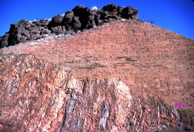 A buttress unconformity (contact at red arrow) is one in which the younger, overlying rocks are cut by the contact. This relationship occurs because the younger sediments are deposited against the older rocks as they stood out in topographic relief.