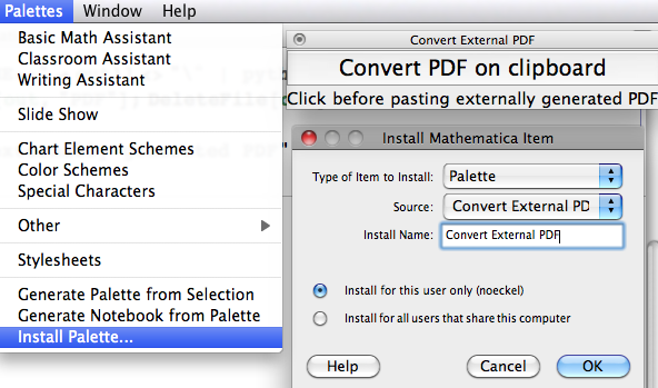 Pasting externally generated PDF into Mathematica version 8