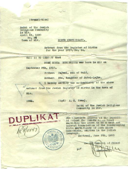Buniewicka documents