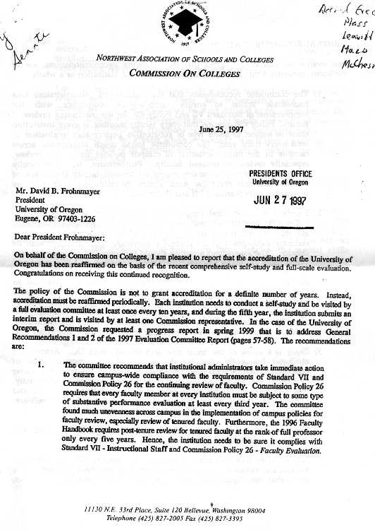 senate documents related to post tenure review